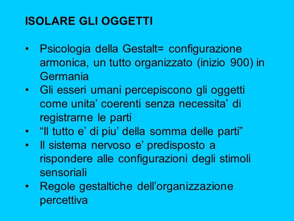 ISOLARE GLI OGGETTI Psicologia della Gestalt= configurazione armonica, un tutto organizzato (inizio 900) in Germania Gli esseri umani percepiscono gli
