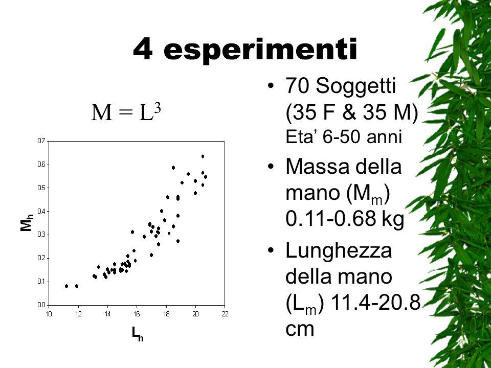 4 esperimenti 70 Soggetti (35 F & 35 M) Eta 6-50 anni Massa della mano (M m ) 0.11-0.68 kg Lunghezza della mano (L m ) 11.4-20.8 cm M = L 3