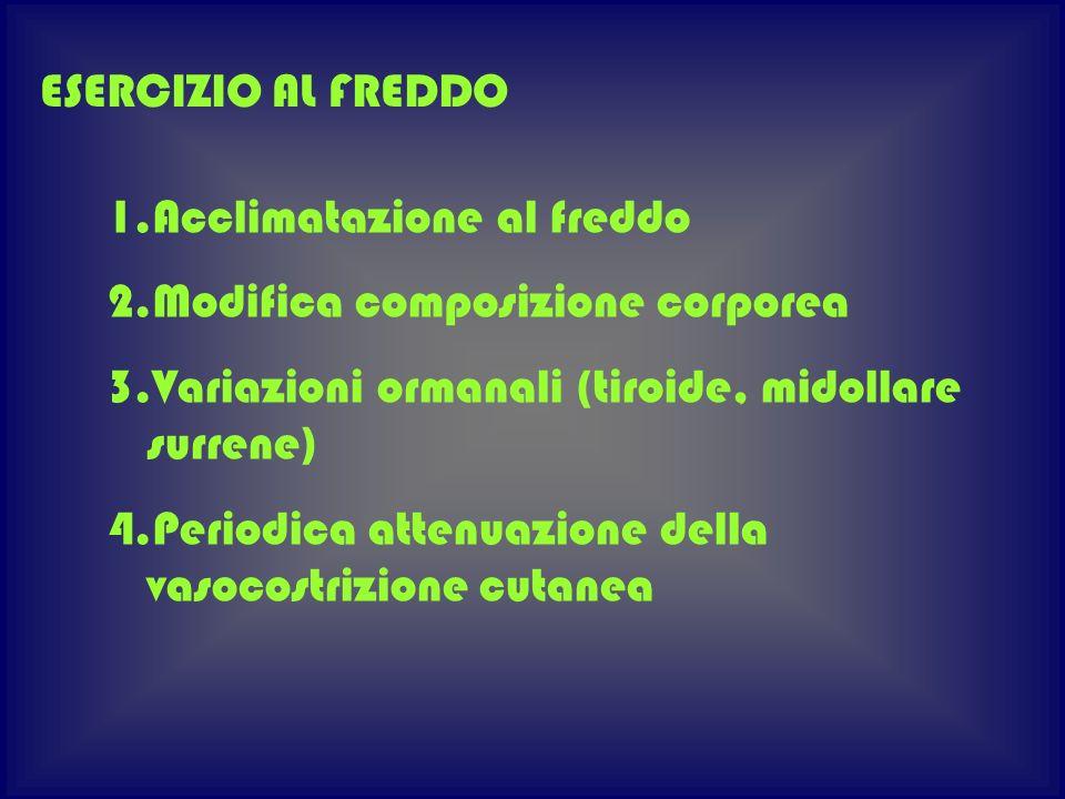 1.Acclimatazione al freddo 2.Modifica composizione corporea 3.Variazioni ormanali (tiroide, midollare surrene) 4.Periodica attenuazione della vasocost