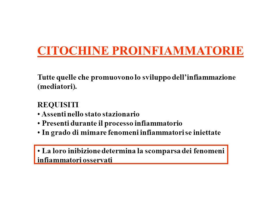 CITOCHINE PROINFIAMMATORIE Tutte quelle che promuovono lo sviluppo dellinfiammazione (mediatori).