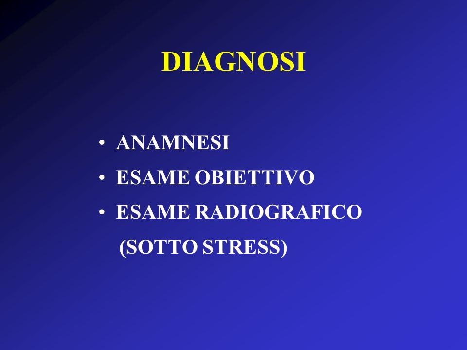 DIAGNOSI ANAMNESI ESAME OBIETTIVO ESAME RADIOGRAFICO (SOTTO STRESS)