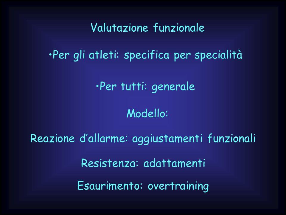 Valutazione funzionale Per gli atleti: specifica per specialità Per tutti: generale Modello: Reazione dallarme: aggiustamenti funzionali Resistenza: a