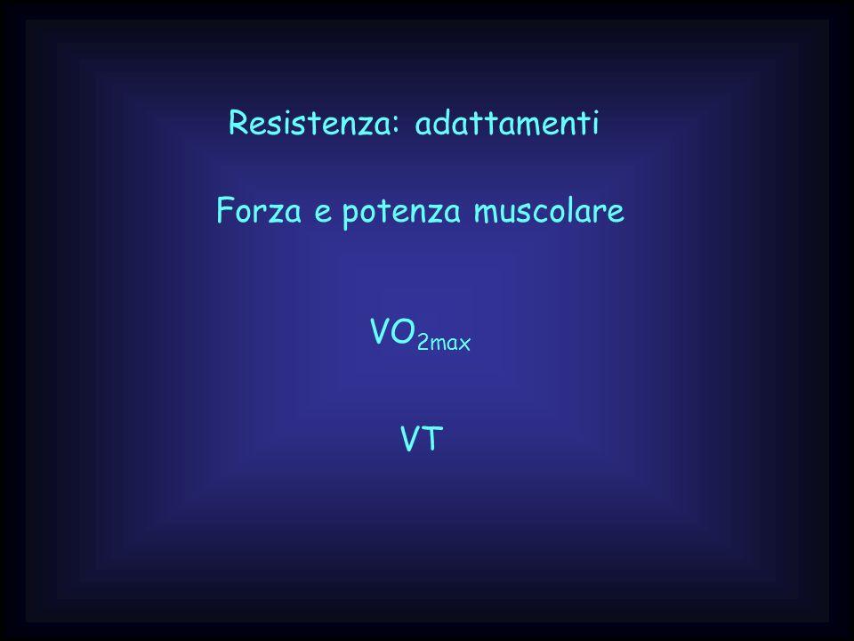 Resistenza: adattamenti Forza e potenza muscolare VO 2max VT