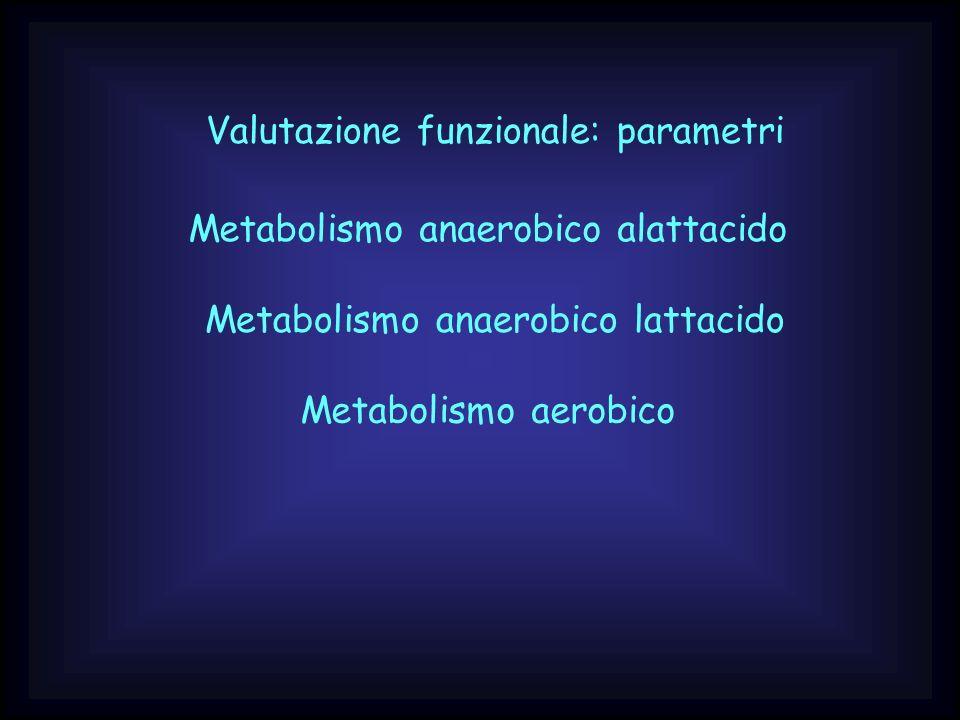 Valutazione funzionale: parametri Metabolismo anaerobico alattacido Metabolismo anaerobico lattacido Metabolismo aerobico