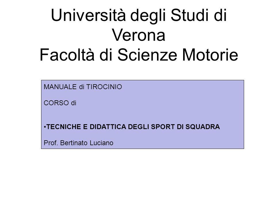 Fare clic per modificare lo stile del sottotitolo dello schema Università degli Studi di Verona Facoltà di Scienze Motorie MANUALE di TIROCINIO CORSO di TECNICHE E DIDATTICA DEGLI SPORT DI SQUADRA Prof.