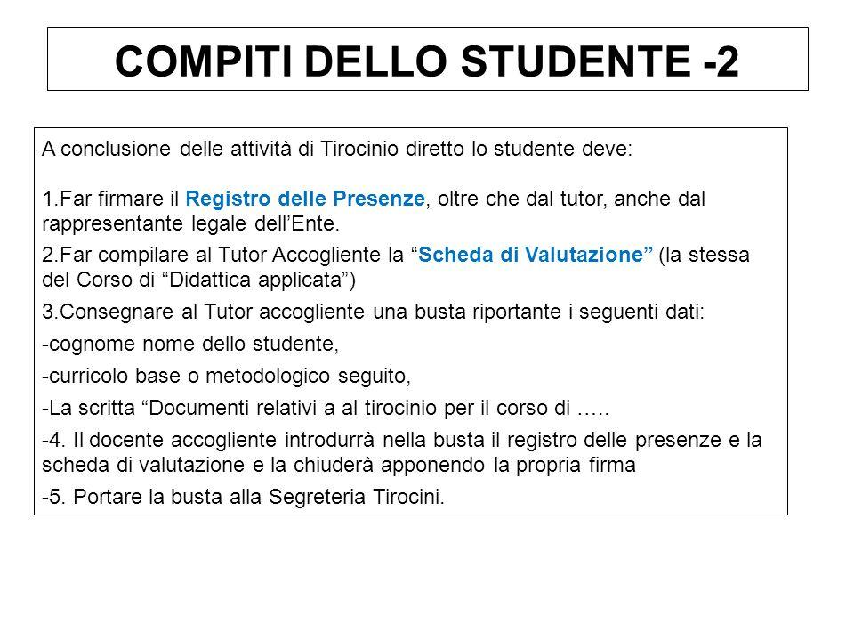 COMPITI DELLO STUDENTE -2 A conclusione delle attività di Tirocinio diretto lo studente deve: 1.Far firmare il Registro delle Presenze, oltre che dal tutor, anche dal rappresentante legale dellEnte.