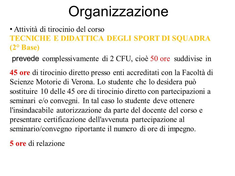 Organizzazione Attività di tirocinio del corso TECNICHE E DIDATTICA DEGLI SPORT DI SQUADRA (2° Base) prevede complessivamente di 2 CFU, cioè 50 ore suddivise in 45 ore di tirocinio diretto presso enti accreditati con la Facoltà di Scienze Motorie di Verona.