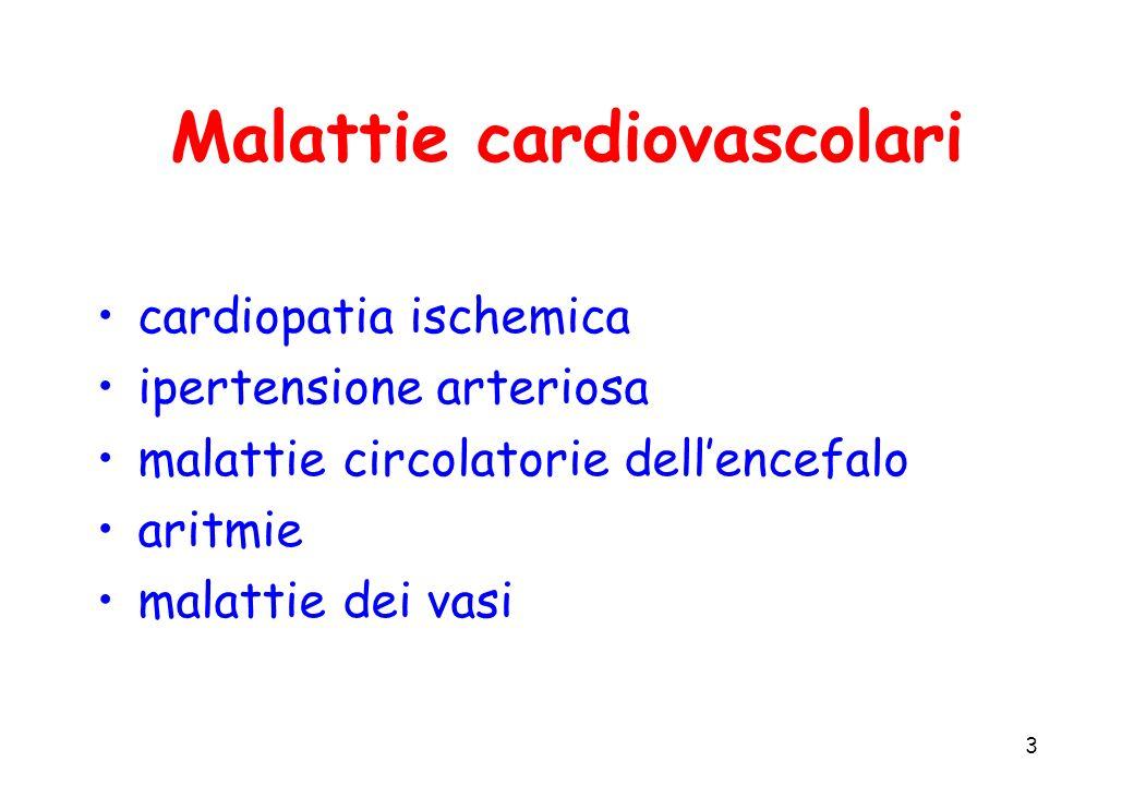 4 Malattie cardiovascolari Principali esiti: infarto miocardico acuto insufficienza cardiaca congestizia morte improvvisa ictus gangrena
