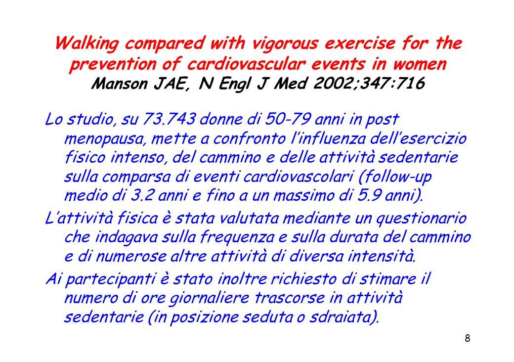 9 Walking compared with vigorous exercise for the prevention of cardiovascular events in women Manson JAE, N Engl J Med 2002;347:716 Lesercizio è stato definito: intenso se in grado di accelerare la frequenza cardiaca ed aumentare la sudorazione (es.