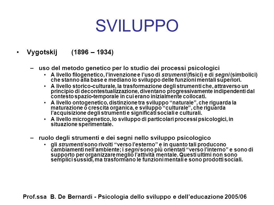 Prof.ssa B. De Bernardi - Psicologia dello sviluppo e delleducazione 2005/06 SVILUPPO Vygotskij (1896 – 1934) –uso del metodo genetico per lo studio d
