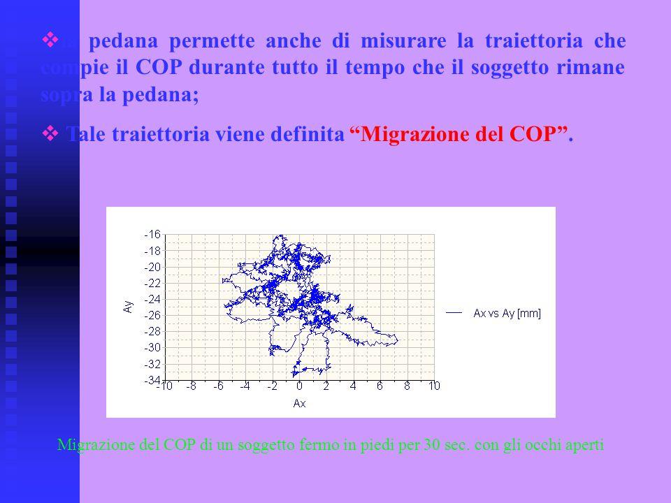 la pedana permette anche di misurare la traiettoria che compie il COP durante tutto il tempo che il soggetto rimane sopra la pedana; Tale traiettoria