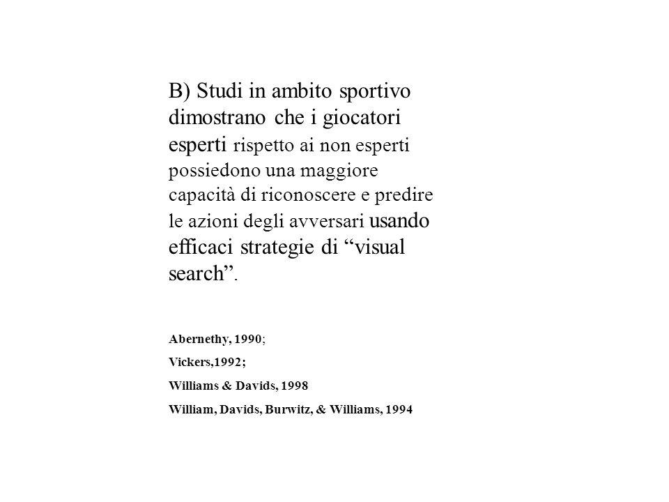 B) Studi in ambito sportivo dimostrano che i giocatori esperti rispetto ai non esperti possiedono una maggiore capacità di riconoscere e predire le az