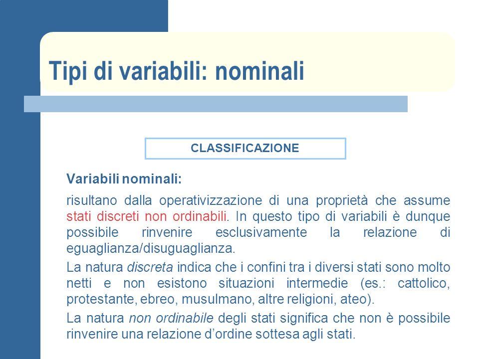 Tipi di variabili: nominali Variabili nominali: risultano dalla operativizzazione di una proprietà che assume stati discreti non ordinabili.