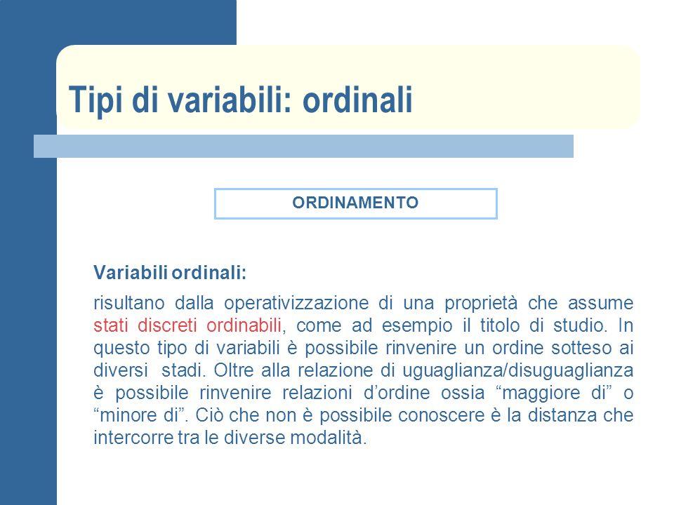 Tipi di variabili: ordinali Variabili ordinali: risultano dalla operativizzazione di una proprietà che assume stati discreti ordinabili, come ad esempio il titolo di studio.