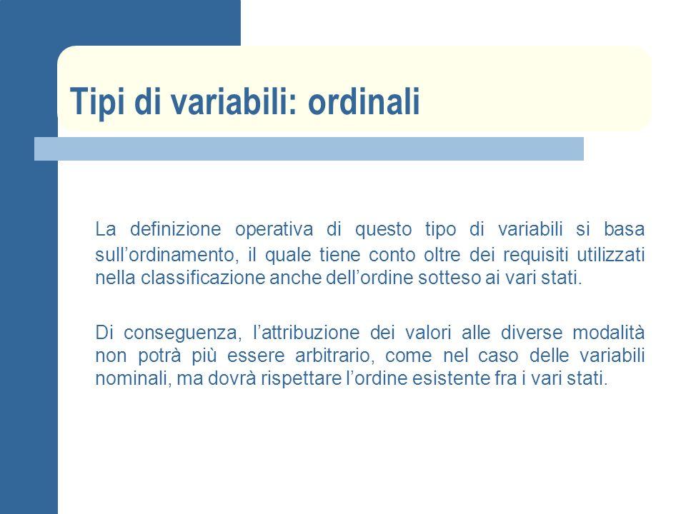 Tipi di variabili: ordinali La definizione operativa di questo tipo di variabili si basa sullordinamento, il quale tiene conto oltre dei requisiti utilizzati nella classificazione anche dellordine sotteso ai vari stati.