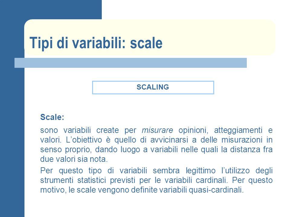 Tipi di variabili: scale Scale: sono variabili create per misurare opinioni, atteggiamenti e valori.