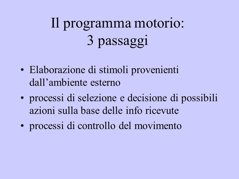 Il programma motorio: 3 passaggi Elaborazione di stimoli provenienti dallambiente esterno processi di selezione e decisione di possibili azioni sulla base delle info ricevute processi di controllo del movimento