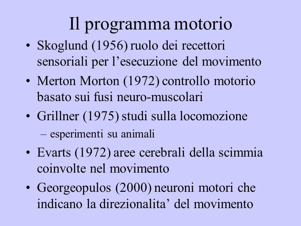 Il programma motorio Skoglund (1956) ruolo dei recettori sensoriali per lesecuzione del movimento Merton Morton (1972) controllo motorio basato sui fusi neuro-muscolari Grillner (1975) studi sulla locomozione –esperimenti su animali Evarts (1972) aree cerebrali della scimmia coinvolte nel movimento Georgeopulos (2000) neuroni motori che indicano la direzionalita del movimento