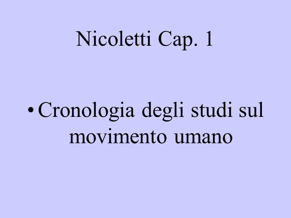 Nicoletti Cap. 1 Cronologia degli studi sul movimento umano