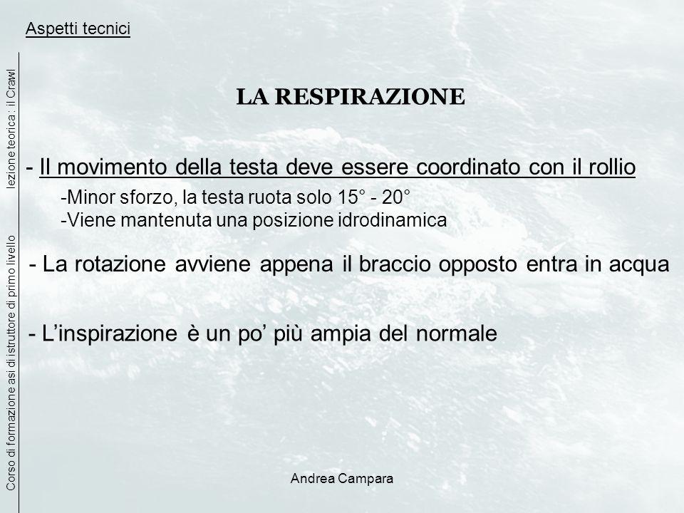 Andrea Campara Aspetti tecnici LA RESPIRAZIONE - Il movimento della testa deve essere coordinato con il rollio -Minor sforzo, la testa ruota solo 15°