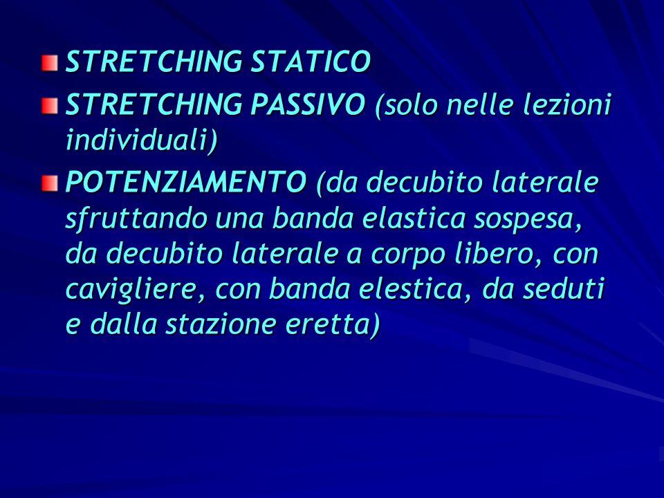 STRETCHING STATICO STRETCHING PASSIVO (solo nelle lezioni individuali) POTENZIAMENTO (da decubito laterale sfruttando una banda elastica sospesa, da d