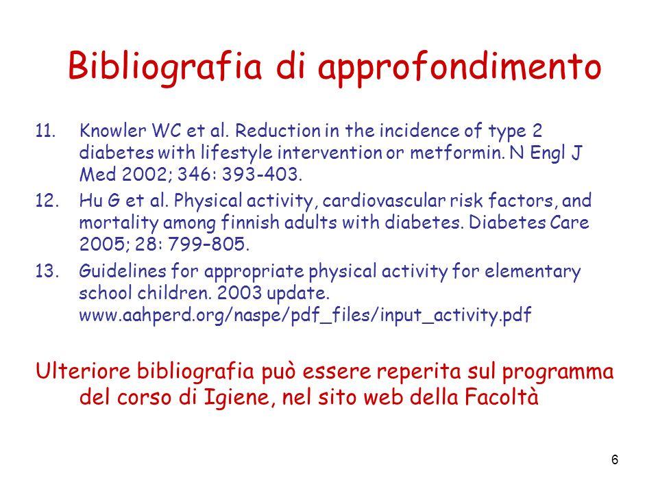 6 Bibliografia di approfondimento 11.Knowler WC et al.
