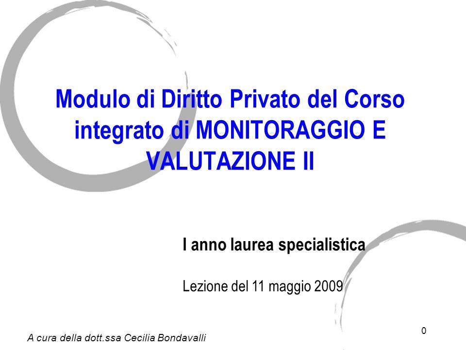 0 Modulo di Diritto Privato del Corso integrato di MONITORAGGIO E VALUTAZIONE II I anno laurea specialistica Lezione del 11 maggio 2009 A cura della dott.ssa Cecilia Bondavalli
