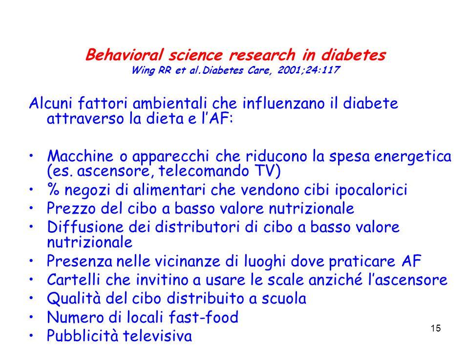 15 Behavioral science research in diabetes Wing RR et al.Diabetes Care, 2001;24:117 Alcuni fattori ambientali che influenzano il diabete attraverso la