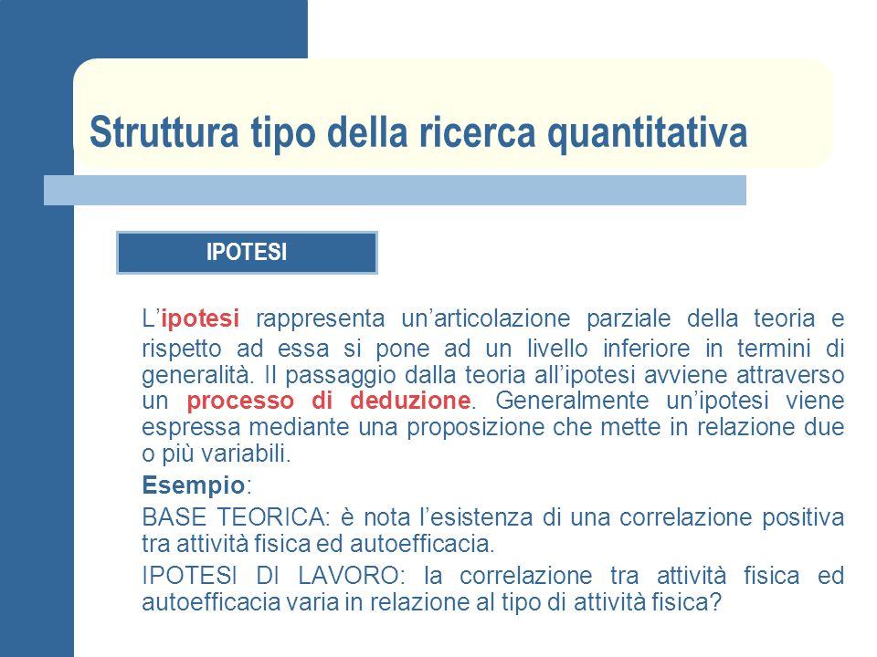 Struttura tipo della ricerca quantitativa IPOTESI Lipotesi rappresenta unarticolazione parziale della teoria e rispetto ad essa si pone ad un livello