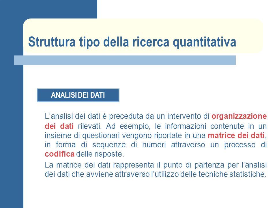 Struttura tipo della ricerca quantitativa ANALISI DEI DATI Lanalisi dei dati è preceduta da un intervento di organizzazione dei dati rilevati. Ad esem