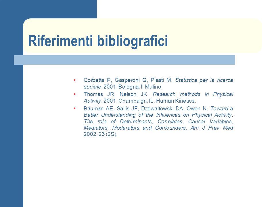 Riferimenti bibliografici Corbetta P, Gasperoni G, Pisati M. Statistica per la ricerca sociale. 2001, Bologna, Il Mulino. Thomas JR, Nelson JK. Resear