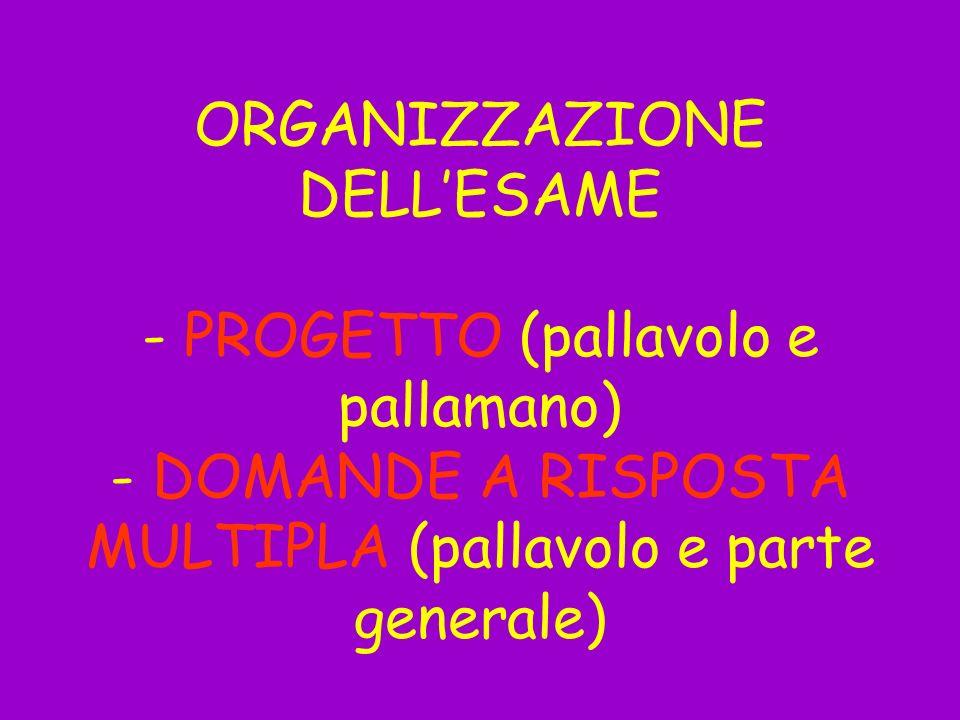 ORGANIZZAZIONE DELLESAME - PROGETTO (pallavolo e pallamano) - DOMANDE A RISPOSTA MULTIPLA (pallavolo e parte generale)