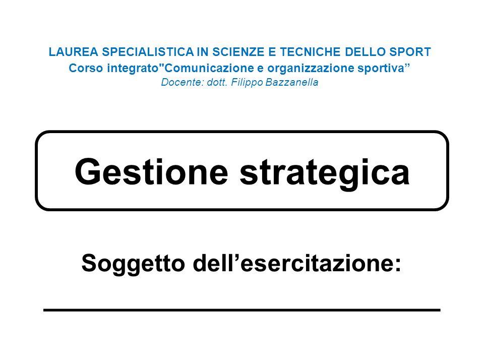 Gestione strategica Soggetto dellesercitazione: ________________________ LAUREA SPECIALISTICA IN SCIENZE E TECNICHE DELLO SPORT Corso integrato Comunicazione e organizzazione sportiva Docente: dott.