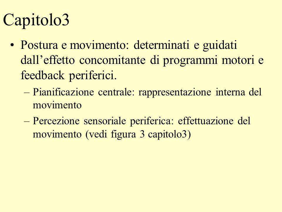 Capitolo3 Postura e movimento: determinati e guidati dalleffetto concomitante di programmi motori e feedback periferici. –Pianificazione centrale: rap