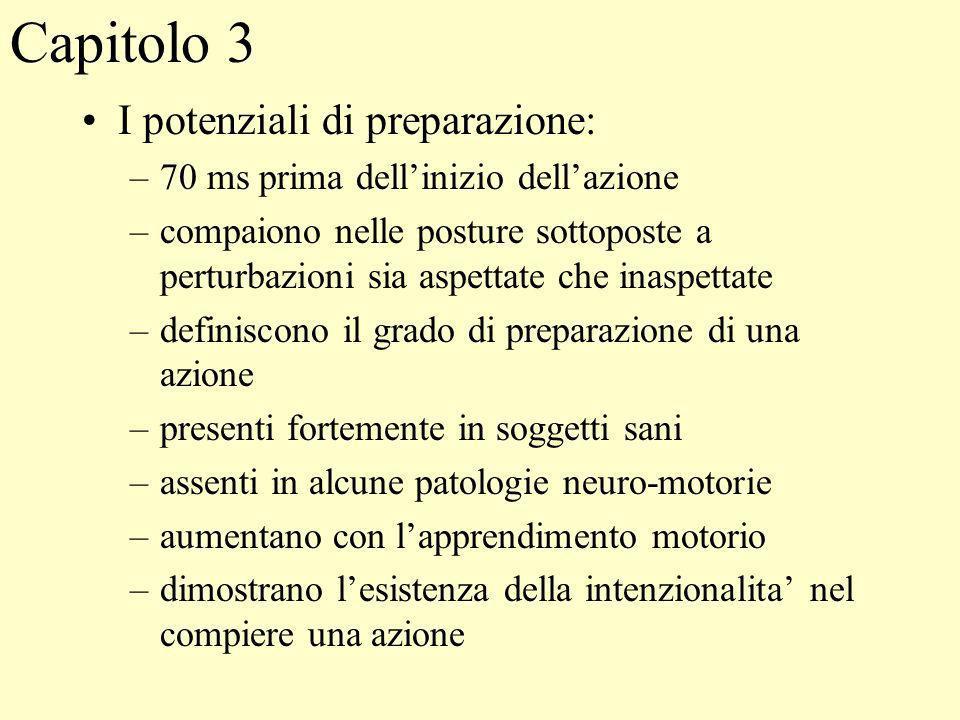 Capitolo 3 I potenziali di preparazione: –70 ms prima dellinizio dellazione –compaiono nelle posture sottoposte a perturbazioni sia aspettate che inas