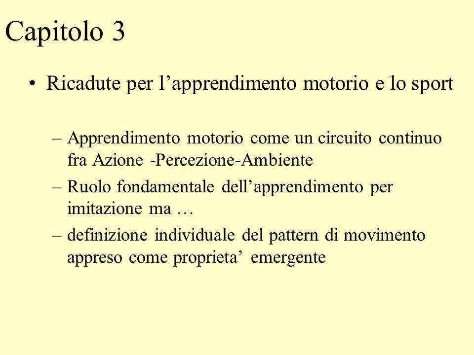 Capitolo 3 Ricadute per lapprendimento motorio e lo sport –Apprendimento motorio come un circuito continuo fra Azione -Percezione-Ambiente –Ruolo fond