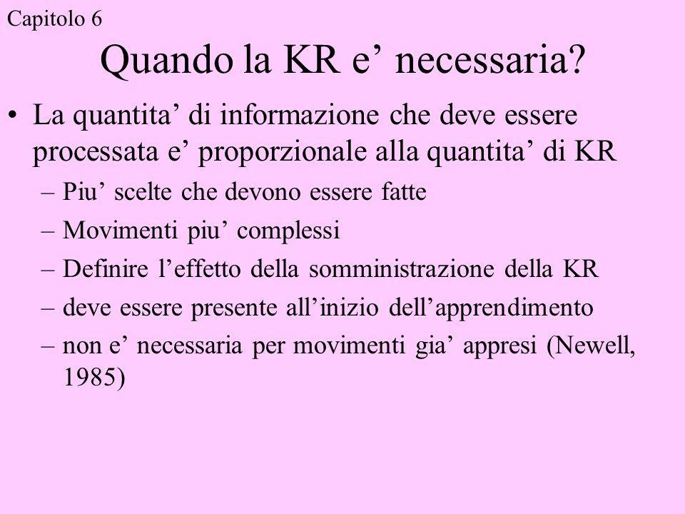 Quando la KR e necessaria? La quantita di informazione che deve essere processata e proporzionale alla quantita di KR –Piu scelte che devono essere fa
