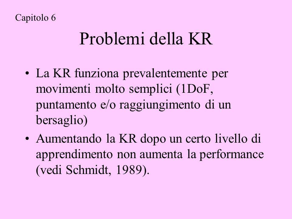 Problemi della KR La KR funziona prevalentemente per movimenti molto semplici (1DoF, puntamento e/o raggiungimento di un bersaglio) Aumentando la KR dopo un certo livello di apprendimento non aumenta la performance (vedi Schmidt, 1989).