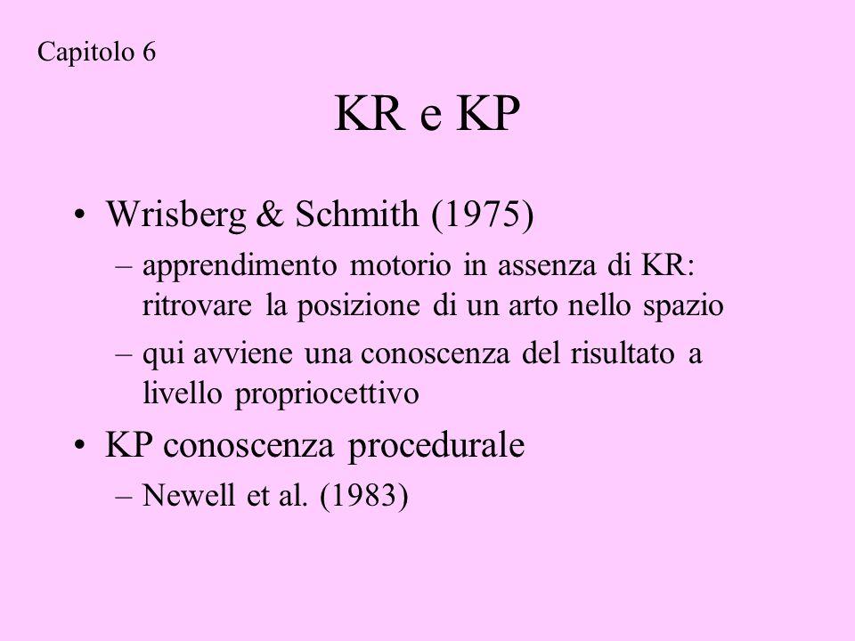 KR e KP Wrisberg & Schmith (1975) –apprendimento motorio in assenza di KR: ritrovare la posizione di un arto nello spazio –qui avviene una conoscenza del risultato a livello propriocettivo KP conoscenza procedurale –Newell et al.