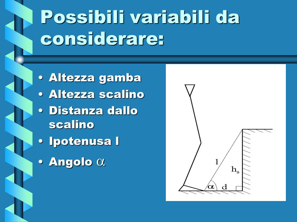 Possibili variabili da considerare: Altezza gambaAltezza gamba Altezza scalinoAltezza scalino Distanza dallo scalinoDistanza dallo scalino Ipotenusa l