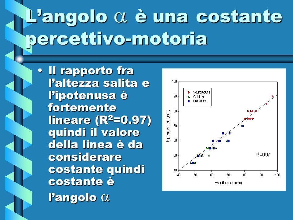 Langolo è una costante percettivo-motoria Il rapporto fra laltezza salita e lipotenusa è fortemente lineare (R 2 =0.97) quindi il valore della linea è