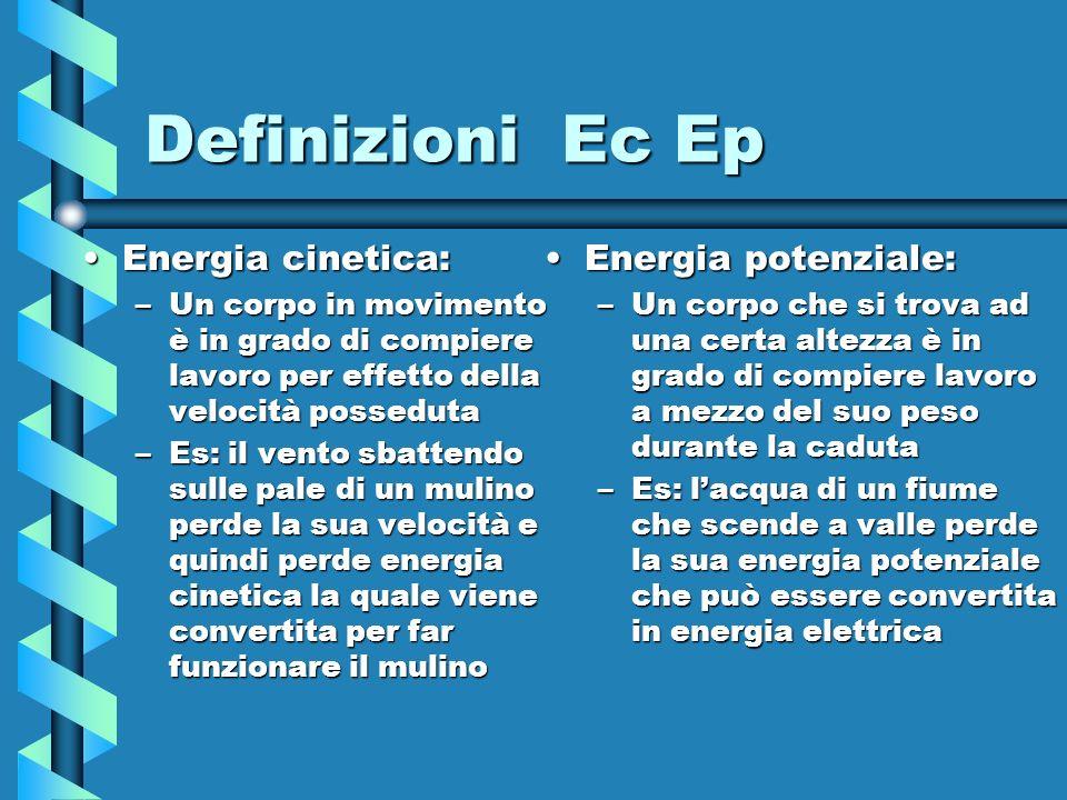Definizioni Ec Ep Energia cinetica:Energia cinetica: –Un corpo in movimento è in grado di compiere lavoro per effetto della velocità posseduta –Es: il