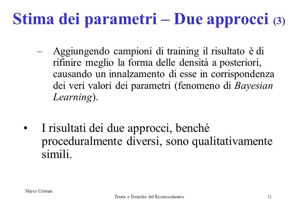 Marco Cristani Teoria e Tecniche del Riconoscimento11 Stima dei parametri – Due approcci (3) –Aggiungendo campioni di training il risultato è di rifin