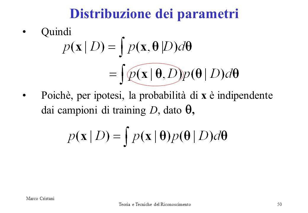 Marco Cristani Teoria e Tecniche del Riconoscimento50 Quindi Poichè, per ipotesi, la probabilità di x è indipendente dai campioni di training D, dato,
