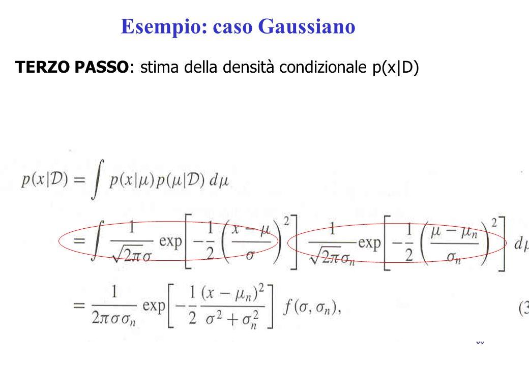 60 Esempio: caso Gaussiano TERZO PASSO: stima della densità condizionale p(x|D)