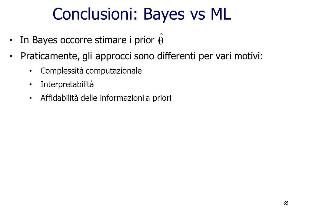65 Conclusioni: Bayes vs ML In Bayes occorre stimare i prior Praticamente, gli approcci sono differenti per vari motivi: Complessità computazionale In