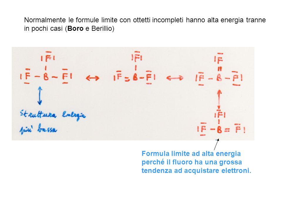 Normalmente le formule limite con ottetti incompleti hanno alta energia tranne in pochi casi (Boro e Berillio) Formula limite ad alta energia perché i