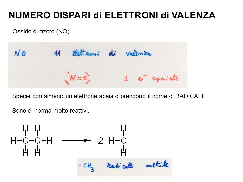 NUMERO DISPARI di ELETTRONI di VALENZA Ossido di azoto (NO) Specie con almeno un elettrone spaiato prendono il nome di RADICALI. Sono di norma molto r