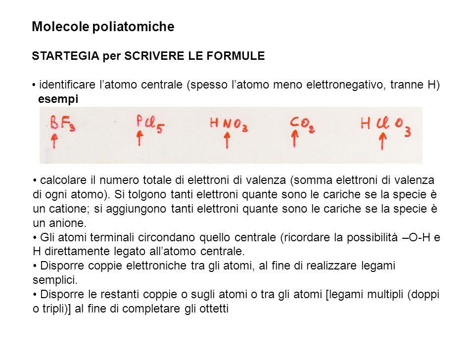Molecole poliatomiche STARTEGIA per SCRIVERE LE FORMULE identificare latomo centrale (spesso latomo meno elettronegativo, tranne H) esempi calcolare i