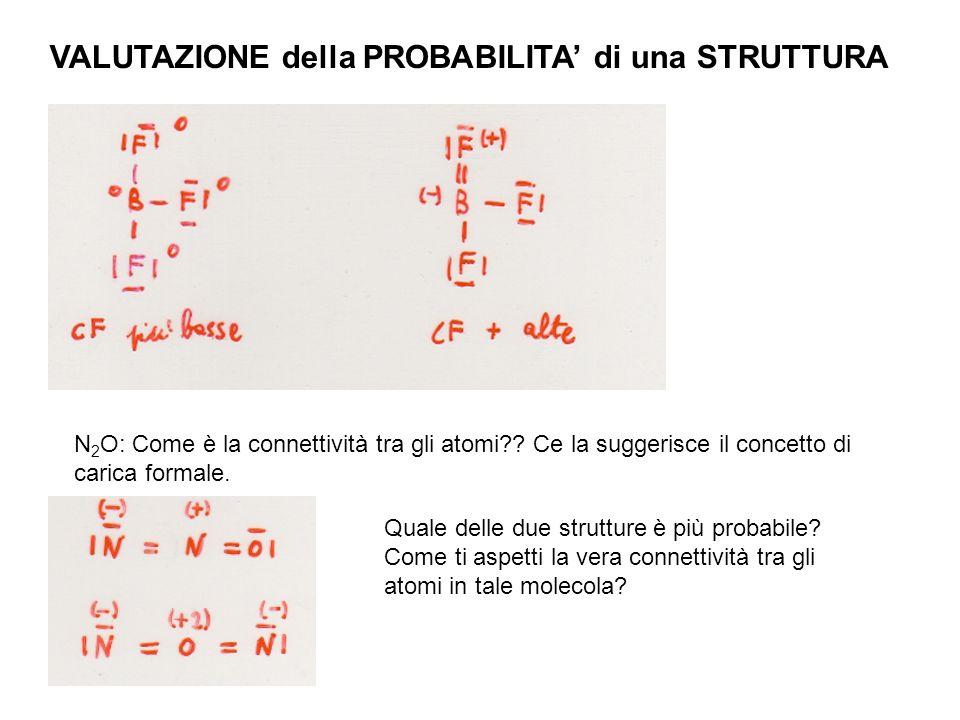 VALUTAZIONE della PROBABILITA di una STRUTTURA N 2 O: Come è la connettività tra gli atomi?? Ce la suggerisce il concetto di carica formale. Quale del